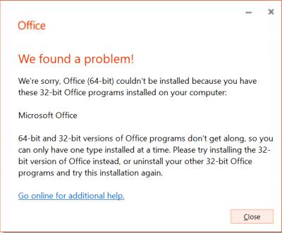 We have a problem error message