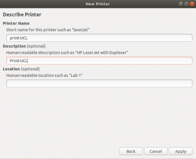 Ubuntu Describe printer screen