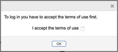 System login, reminder to confirm acceptance
