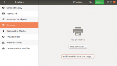 Ubuntu Settings, printers dialogue box
