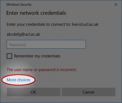 Windows 10 security credentials window