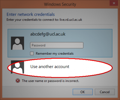 Windows 8.1 security credentials window