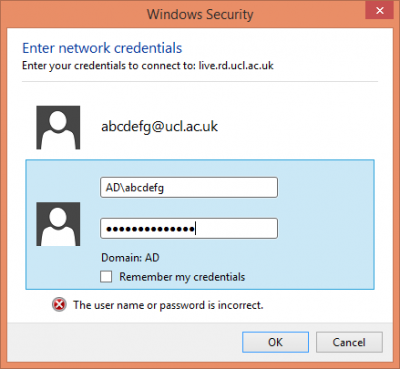Windows 8.1 security credentials window