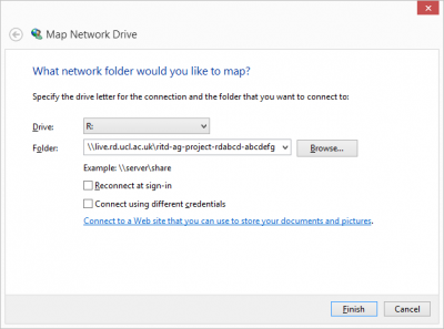 The Map network Drive dialogue box.