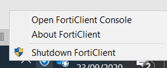 Open FortiClient Console in System Tray