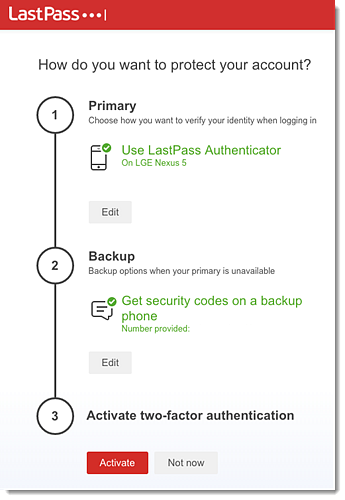 LastPass multifactor authentication set up confirmation