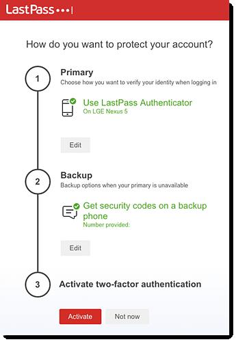 LastPass multifactor authentication set up confirmation