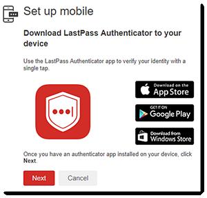 LastPass authenticator mobile set up
