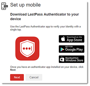 LastPass authenticator mobile set up