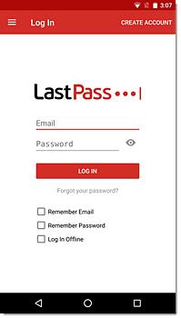 LastPass login box Android