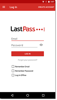 LastPass login box Android