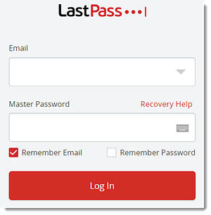 LastPass login box