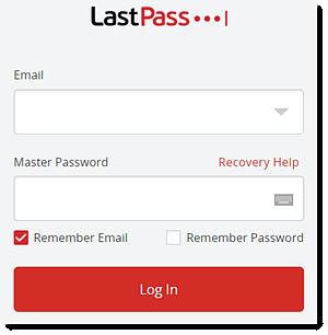 LastPass login box