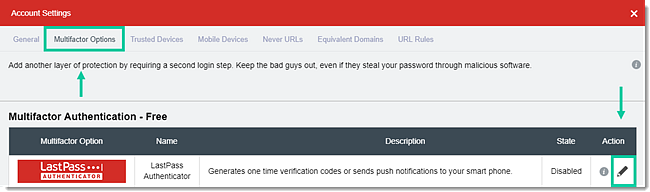 LastPass multifactor options