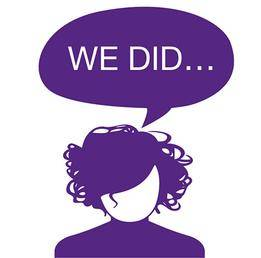 Woman with a 'We did' speech bubble…