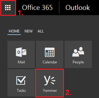 Yammer within the Office 365 tile menu…