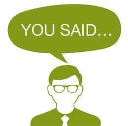 Man with a 'You said' speech bubble…