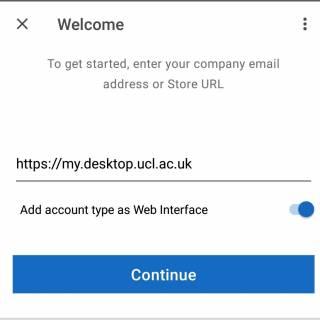 Citrix Workspace enter address screen