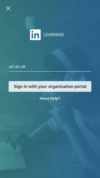 LinkedIn Learning mobile app step 3 - entering your organization's domain