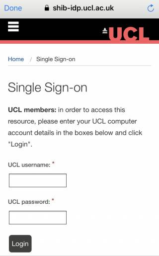 LinkedIn Learning mobile app step 5 - UCL's single sign-on page