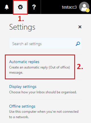 1 In Mail View Click On The Settings Cog Icon On The Top Right Corner Select Automatic Replies