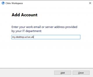 Citrix Workspace Server Address Box