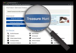 Magnifying glass over ISD website