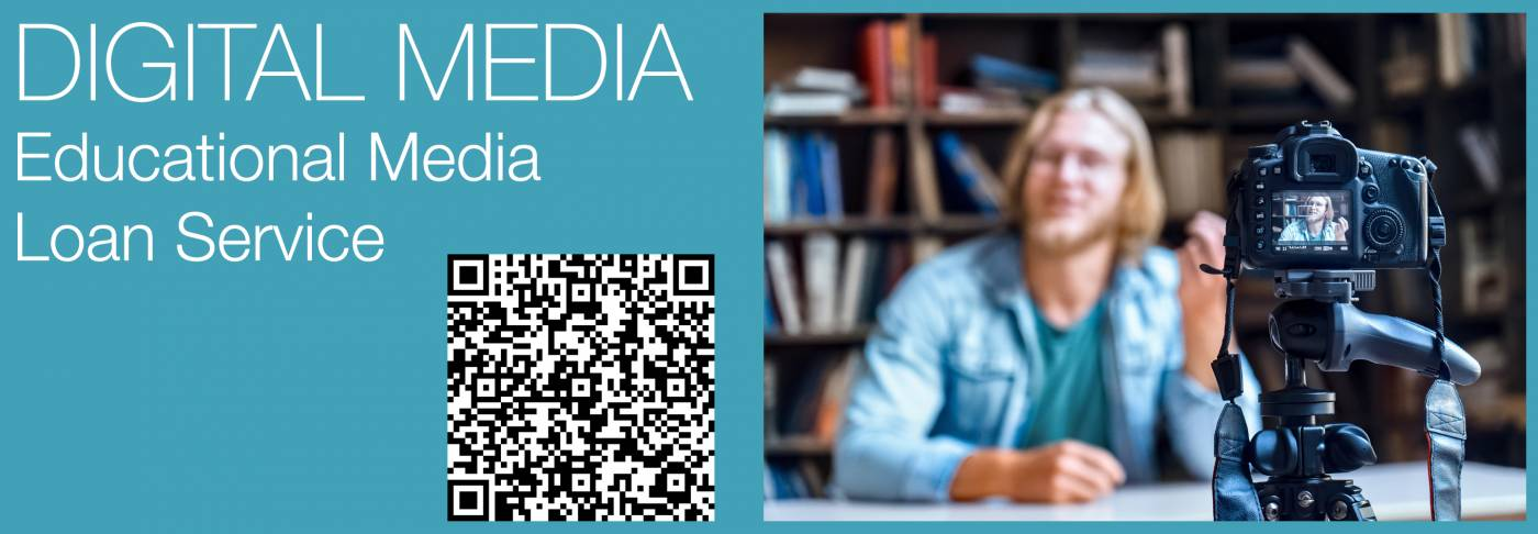 Text - Digital Media Educational Media Loan Service Image of tutor talking to a video camera in a library setting