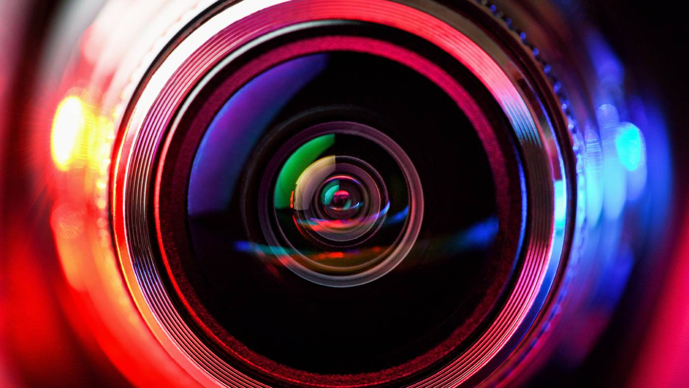Colourful image of a video lens from the front