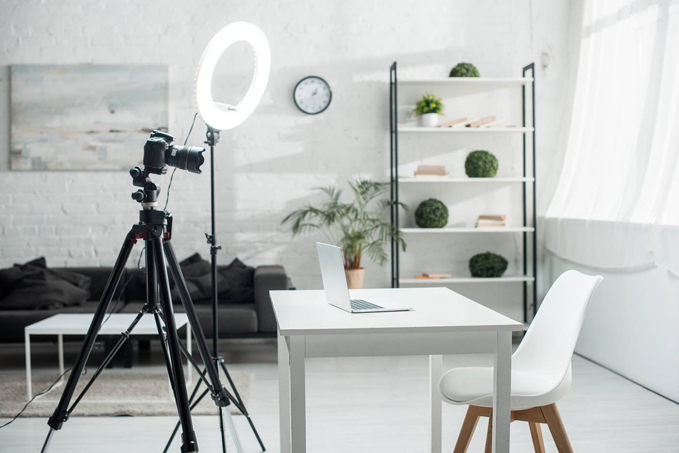 Image of room with video light and camera