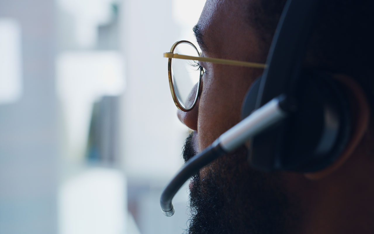Close up of man with a headset