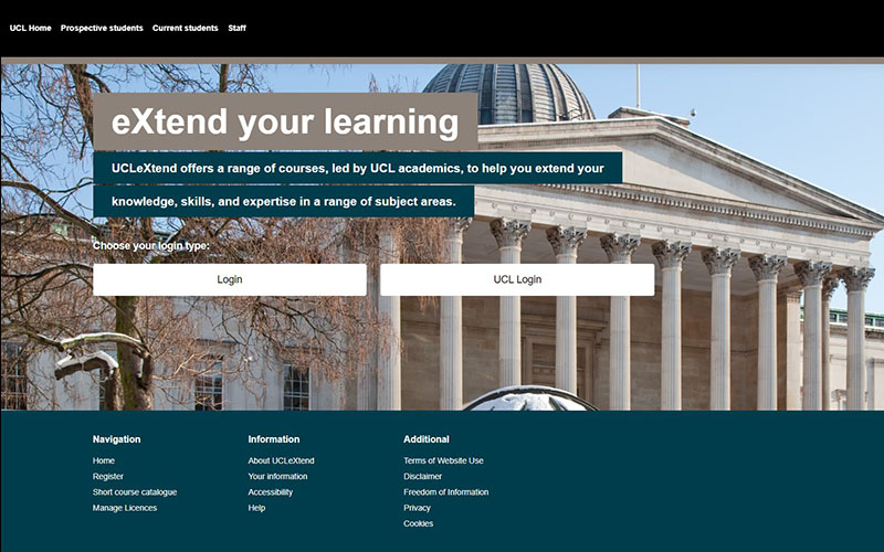 A screenshot of the homepage for UCL eXtend