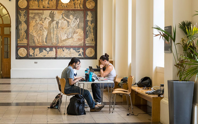 Students in South Cloisters, UCL