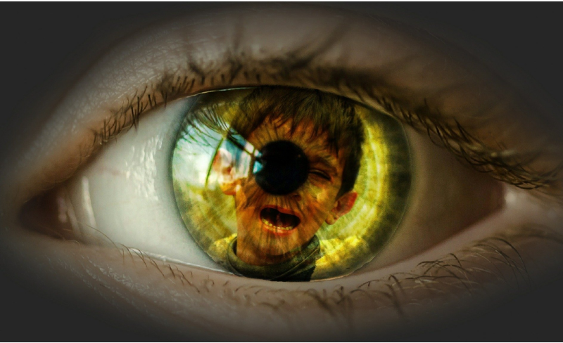 Eyeball with a child in the reflection