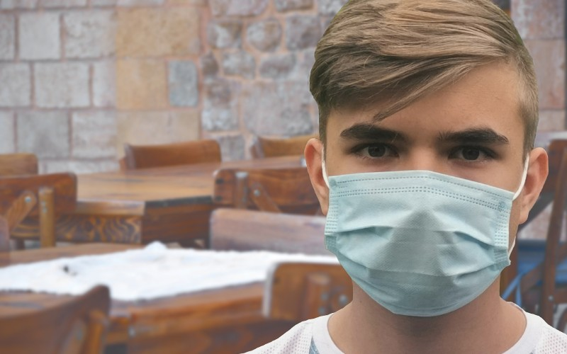 Man with medical face mask