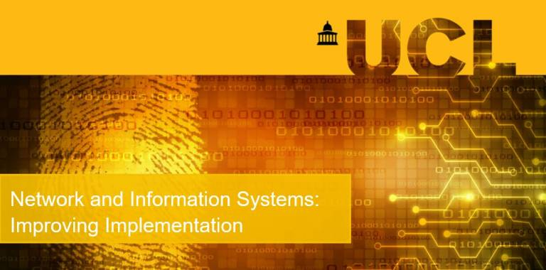 Title page reading Policy report: Network and Information Systems: Improving Implementation