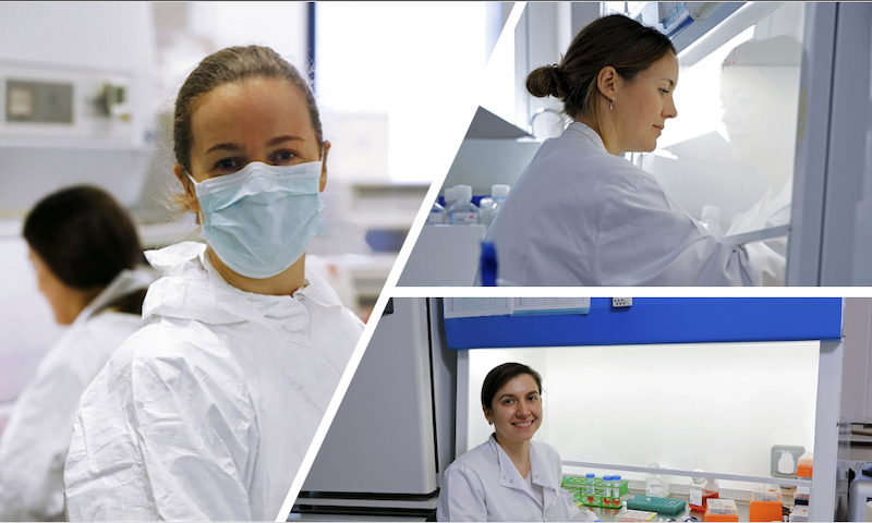 AK Reuschl, Lucy Thorne and Lorena Alvarez-Zuliana researching SARS-CoV-2, Jan 2021