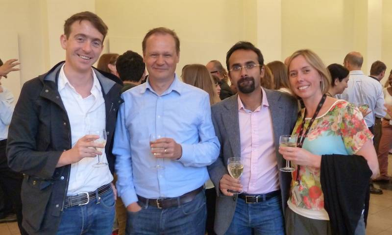 Dr Joe Grove, Prof Greg Towers, Prof Ravi Gupta and Dr Clare Jolly celebrate their Wellcome Trust awards.