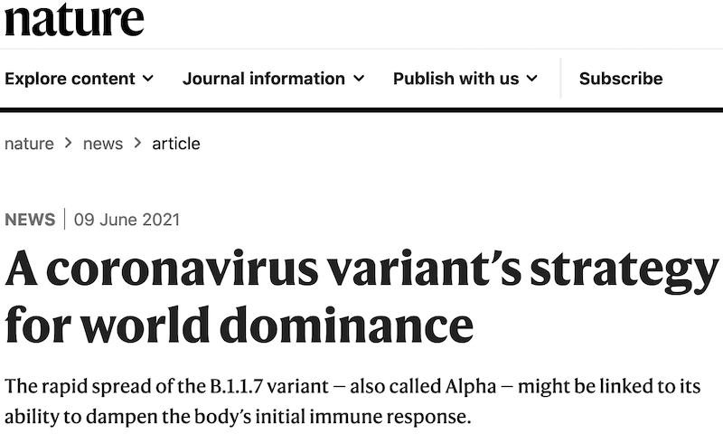 Clare is interviewed by Nature about the Alpha variant dominance, June 2021