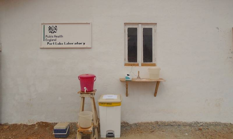 Sample reception at the Ebola diagnostic laboratory, Port Loko, Sierra Leone
