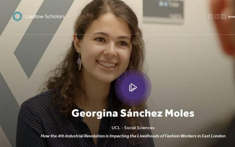a video still of Georgina smiling