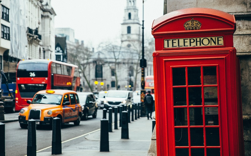 English - telephone box in London
