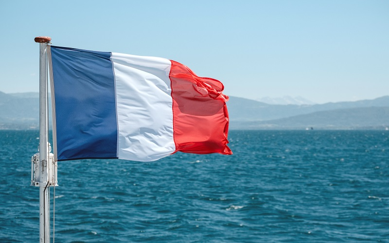 French - french flag flying at sea