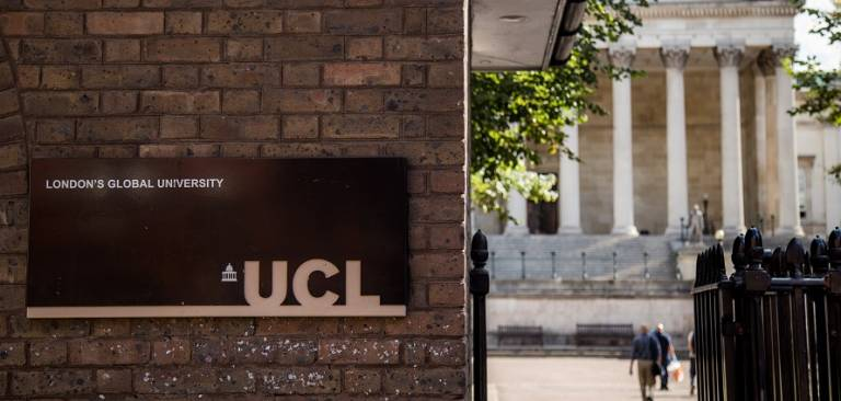 UCL sign outside the main gates