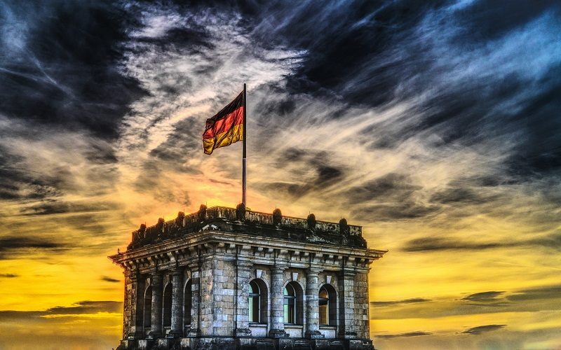 German evening course - German flag on top of a building