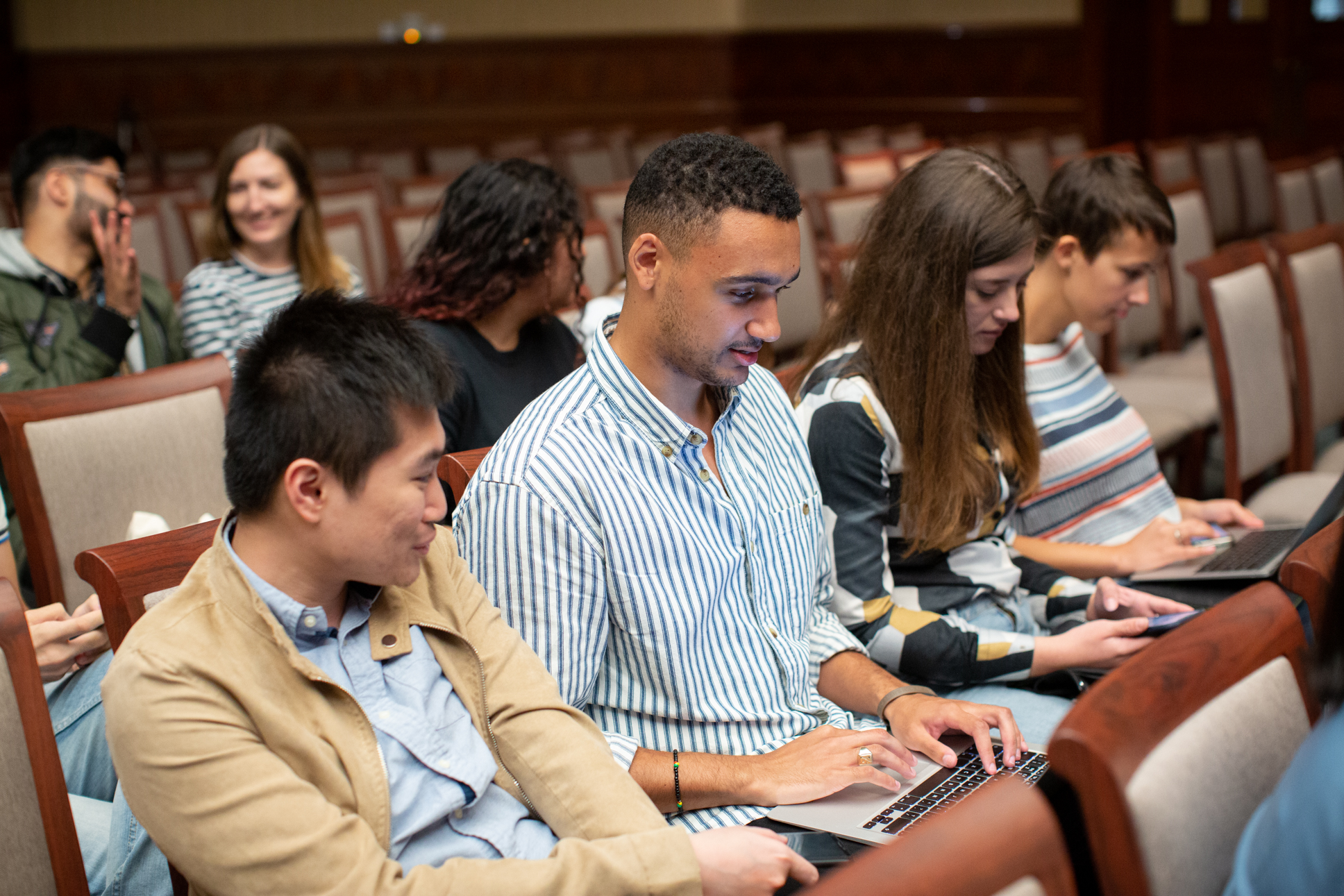Students listening to presentation at LLM induction 2019