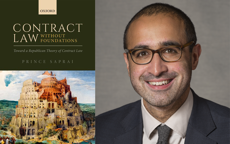 Photo of Contract Law Without Foundations book cover and photo of Prince Saprai