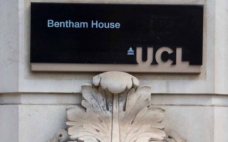 Sign outside of Bentham House, home of UCL Laws