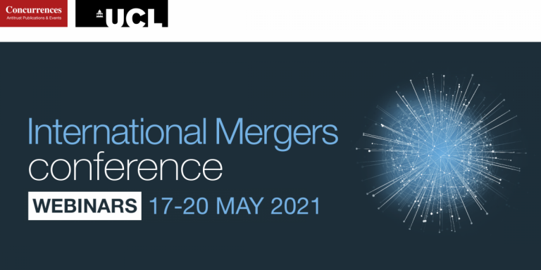 Webinar banner for mergers conference - UCL and Concurrences