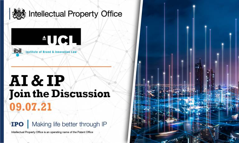 Ai and IP with UCL IBIL and UK IPO logos
